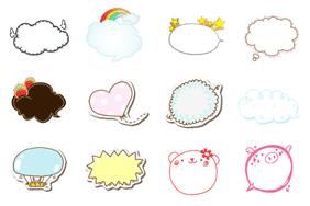 24个可爱的会话气泡PSD素材