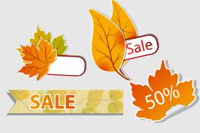 10款彩色秋叶折扣标签矢量素材