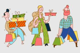 6款创意提满购物袋的人物矢量素材