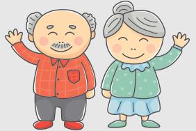 重阳节卡通爷爷奶奶举手