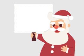 举着白色纸板的圣诞老人