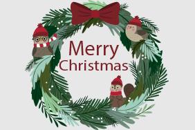 圣诞可爱花环圣诞老人