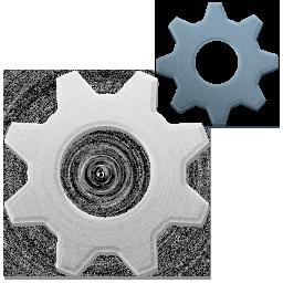 藍白實體鏤空齒輪圖標元素