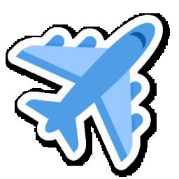 淺藍實體播音飛機圖標元素