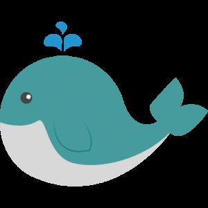 简约卡通可爱绿色鲸鱼