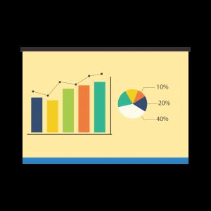 黃色卡通數據統計圖