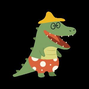 站立的绿色鳄鱼