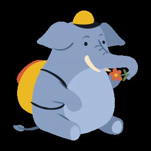 蓝色卡通小象动物