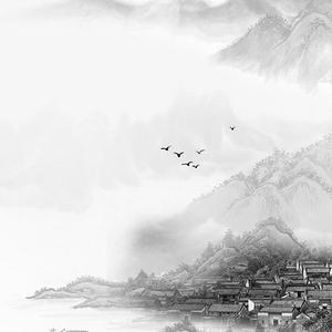 寫意村莊山水水墨畫