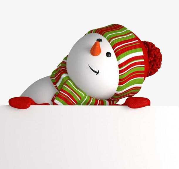 圣诞节雪人歪头