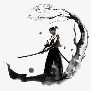中国风水墨画树下的剑客