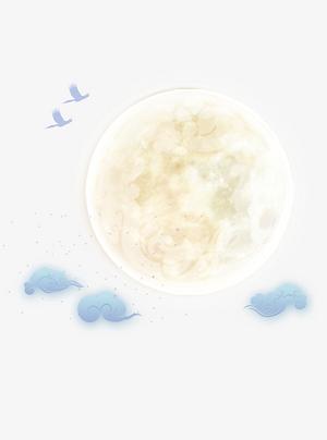手绘可以祥云月亮图案