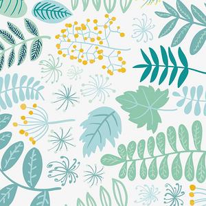 手繪水彩花草葉子元素