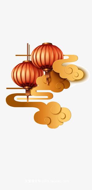 新年新春春節元素燈籠祥云