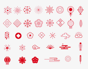 红色中国风过年春节图标