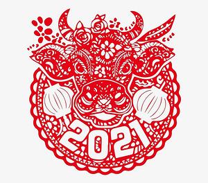 2021年牛年窗花剪紙圖片