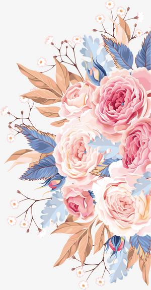 卡通,手繪,粉色水彩,玫瑰,花