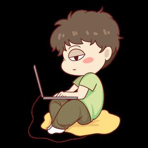 上班打电脑男孩