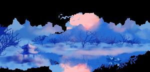 中国风手绘水墨风景山水画