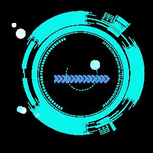 藍色科技圓形圖案元素