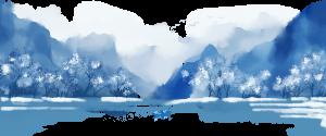 中國風手繪水墨風景山水畫