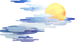 一个月亮偷偷的躲在云里