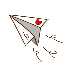 手繪卡通愛心紙飛機