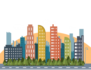 城市剪影剪紙主題插畫