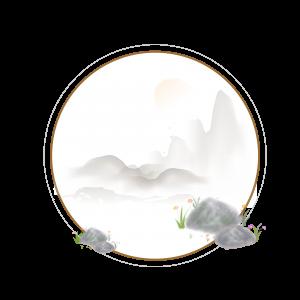 中国风边框装饰水墨风古风石头山
