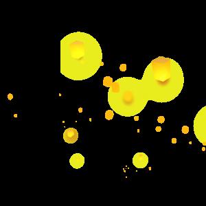 手繪黃色孔明燈燈插畫