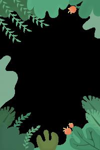 海報裝飾磨砂質感手繪葉子邊框