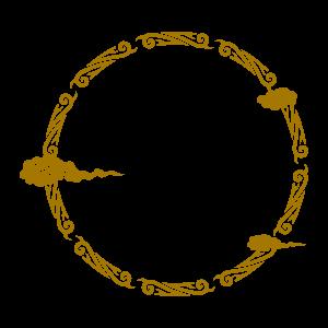 中國風圓形邊框插畫