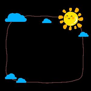 可爱卡通太阳云朵边框手绘插画