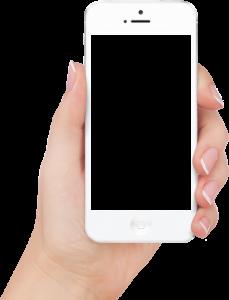 手持白色透明邊款智能手機